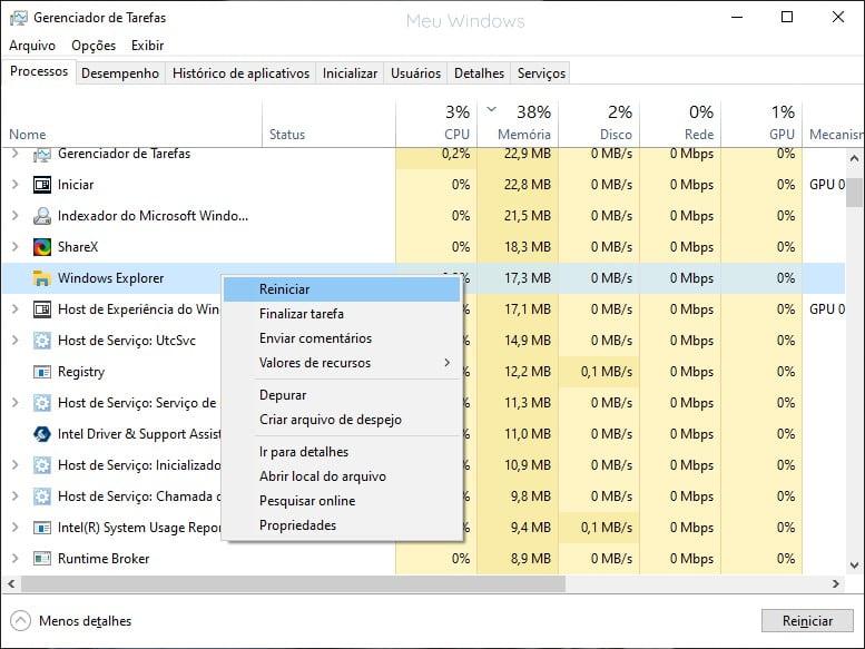 Clique com o botão direito do mouse em Windows Explorer e selecione Reiniciar, para corrigir a caixa de pesquisa do Windows 10.