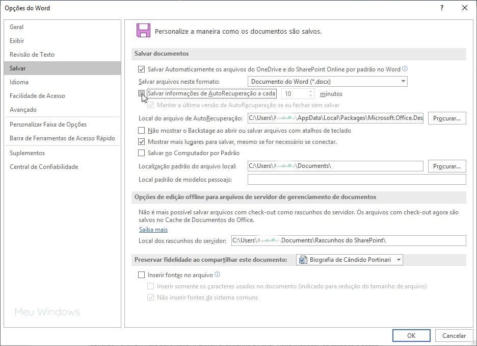 Captura de tela desmarcando a configuração de AutoRecuperação no Office 365
