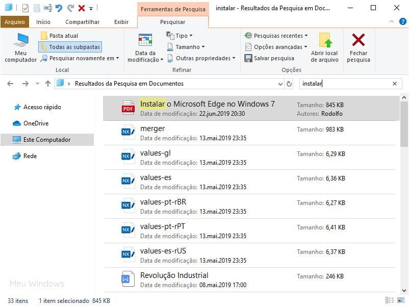 Personalizando a pesquisa no Explorador de Arquivos do Windows 10.
