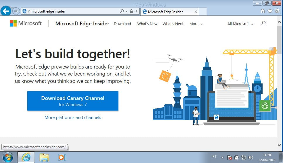 Clique em Download Canary Channel for Windows 7.