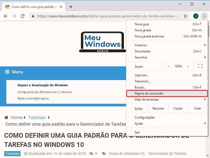 Captura de tela mostra como selecionar a opção Página de conversão no Google Chrome