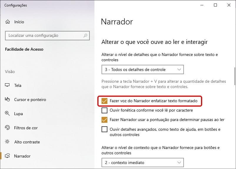 Fazer voz do Narrador enfatizar texto formatado no Windows 10