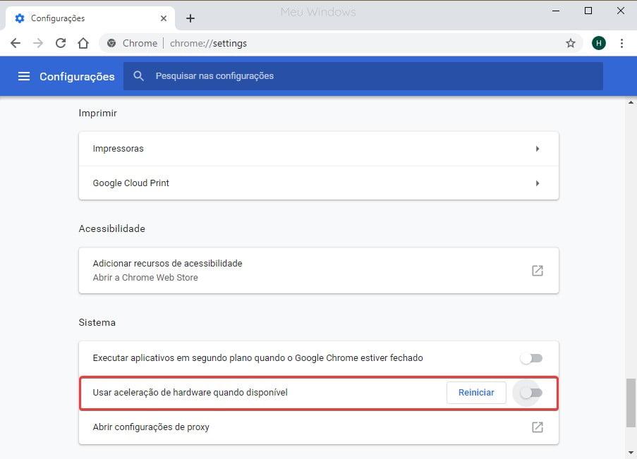 Desativar aceleração de hardware para corrigir a tela piscando no Google Chrome.