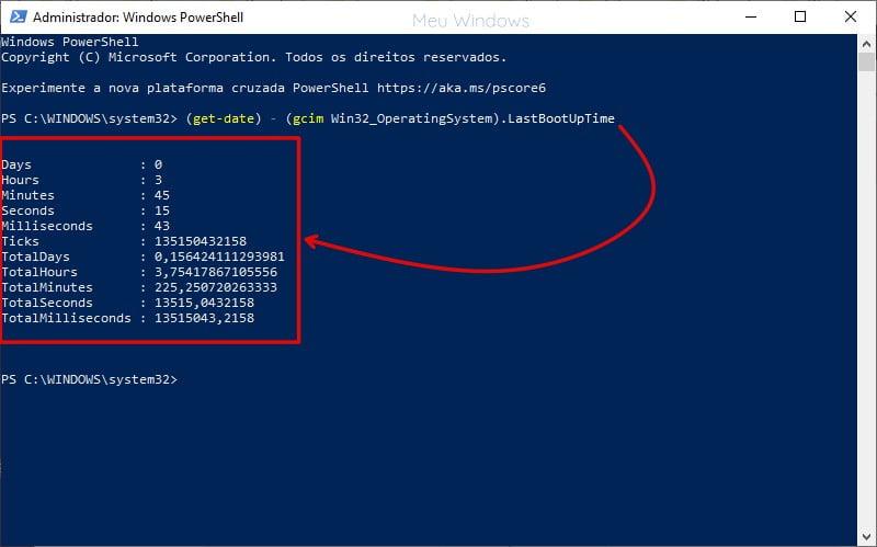 Como verificar o tempo de atividade do PC usando o PowerShell.