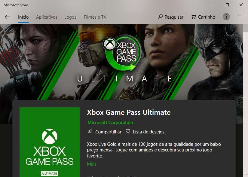 Xbox Game Pass Ultimate na Microsoft Store