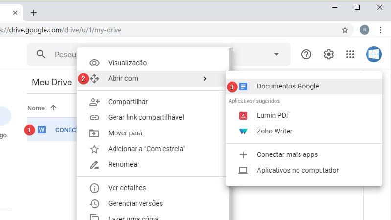Clique com o botão direito do mouse para abrir o documento do Microsoft Word no Google Docs.