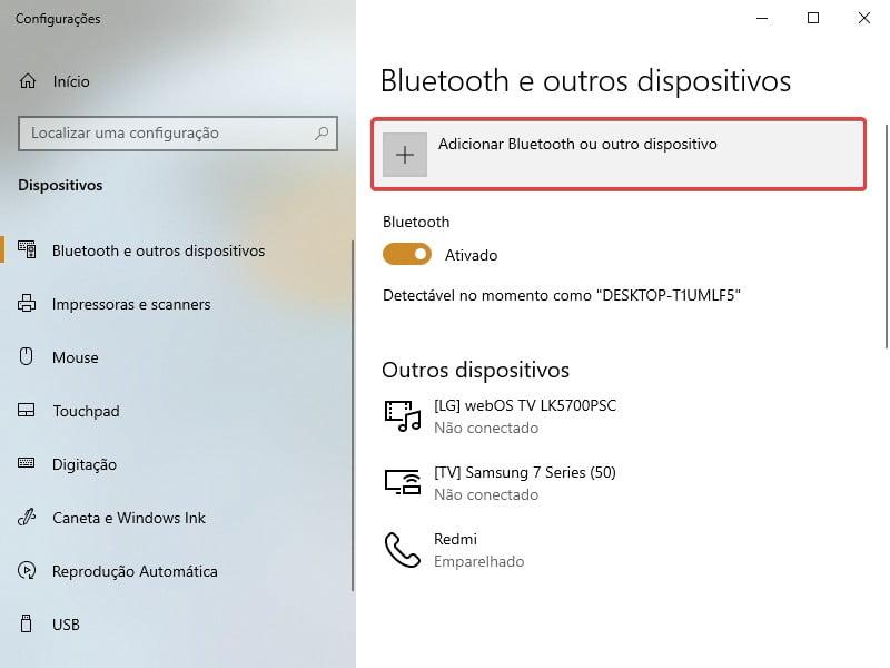 Clique em Adicionar Bluetooth ou outro dispositivo.