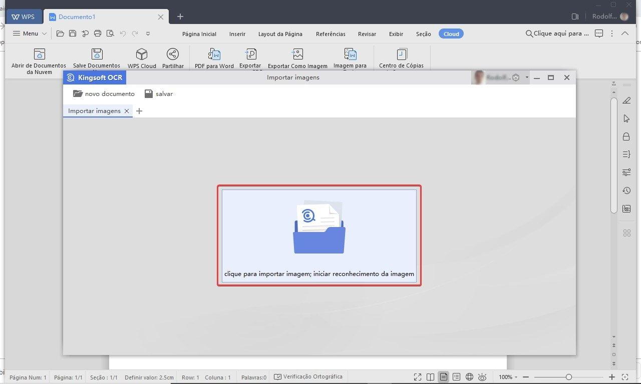 Clique no ícone do meio para selecionar a imagem que você deseja transformar em texto.