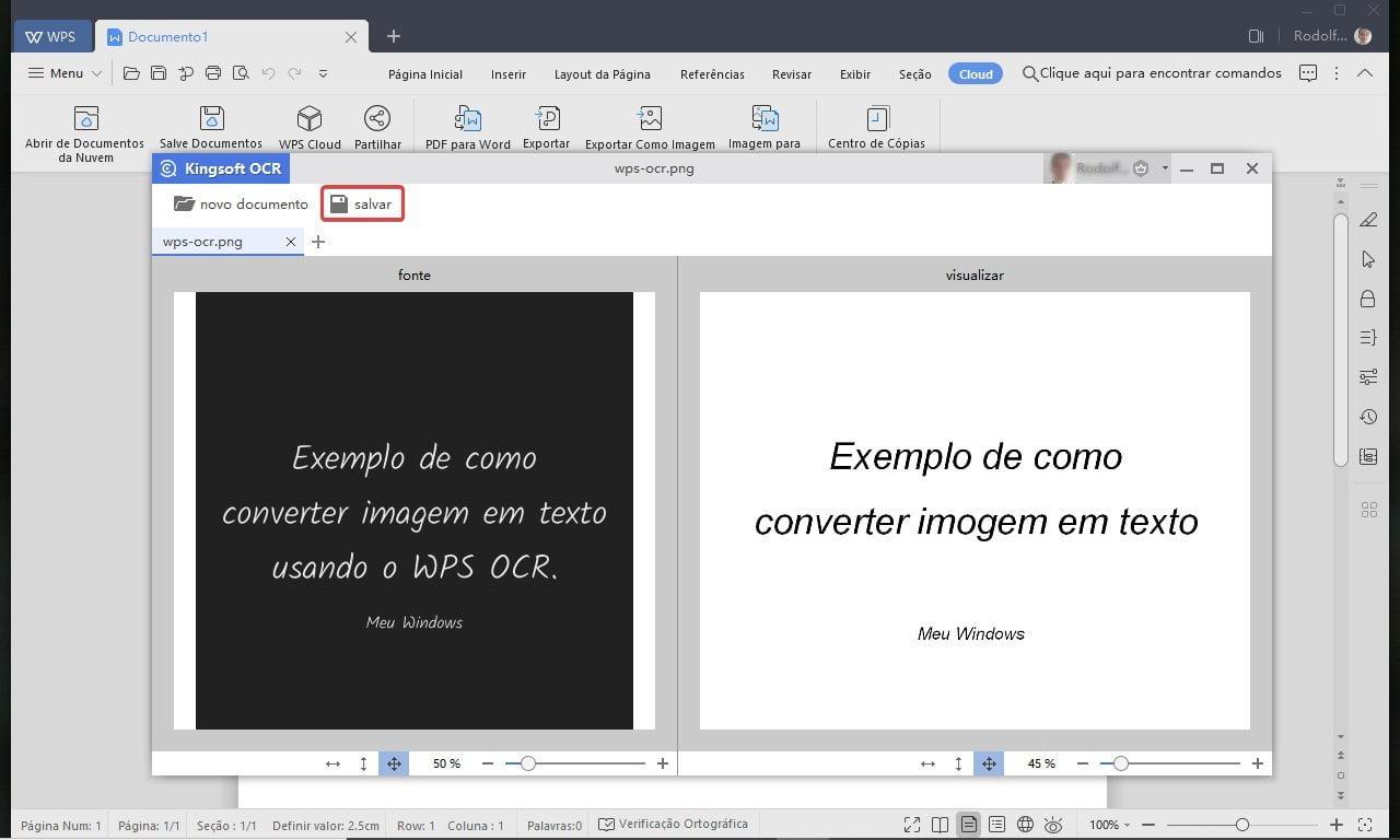 Clique em Salvar para guardar a amostra do texto convertido no computador.