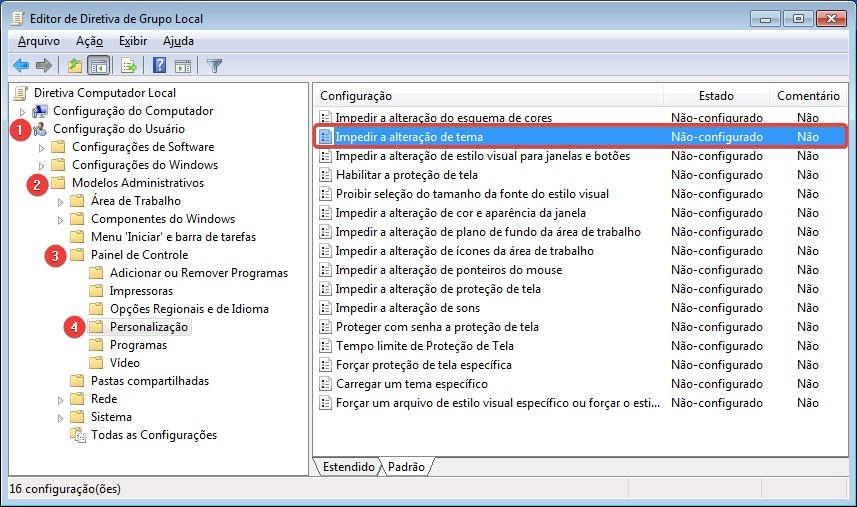 Impedir a alteração de tema no Windows 7 usando o Editor de Política de Grupo Local.