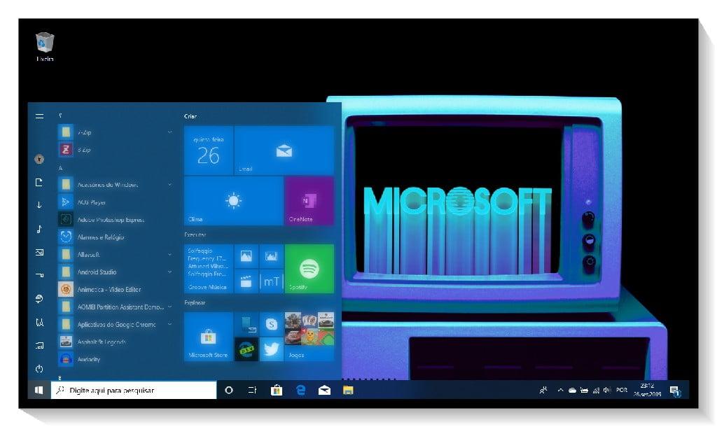 Tema Windows Throwback no Windows 10