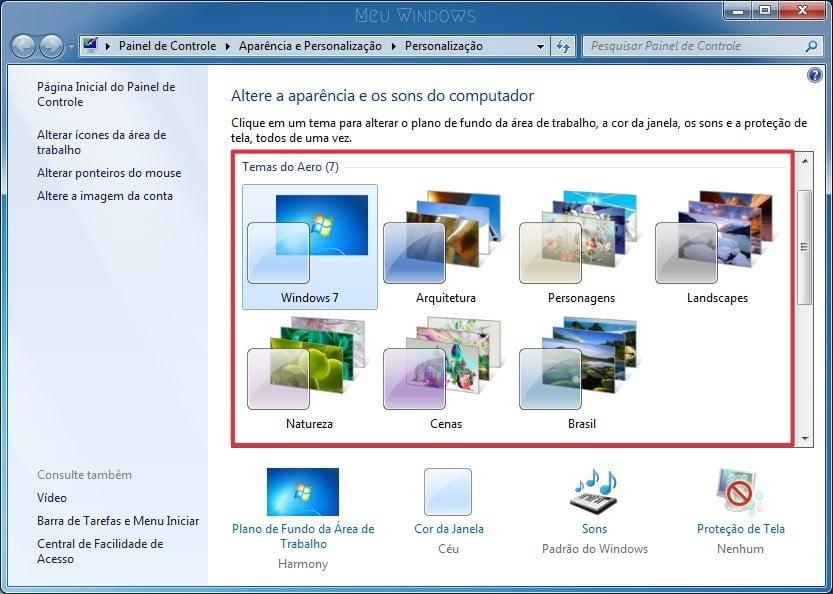 Selecione um tema do Aero que você deseja usar no Windows 7.