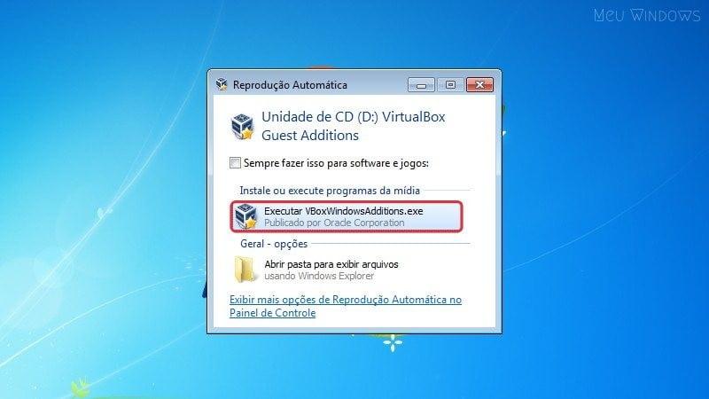 Clique na opção Executar para ativar o Windows Aero no VirtualBox com o Windows 7.