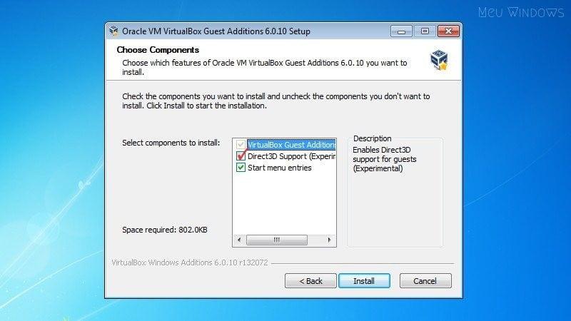 Marque a caixa de seleção Direct3D Support (Experimental).