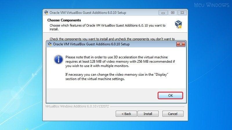 VirtualBox avisa que você deve ter pelo menos 128 MB de memória de vídeo.