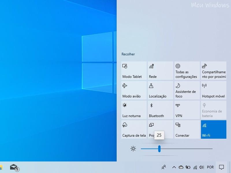 Ajustar o brilho da tela na Central de Ações do Windows 10 versão 1903