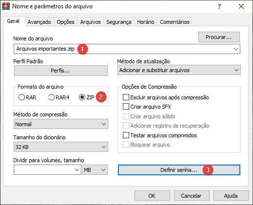 Criando um arquivo ZIP protegido por senha usando o WinRAR.