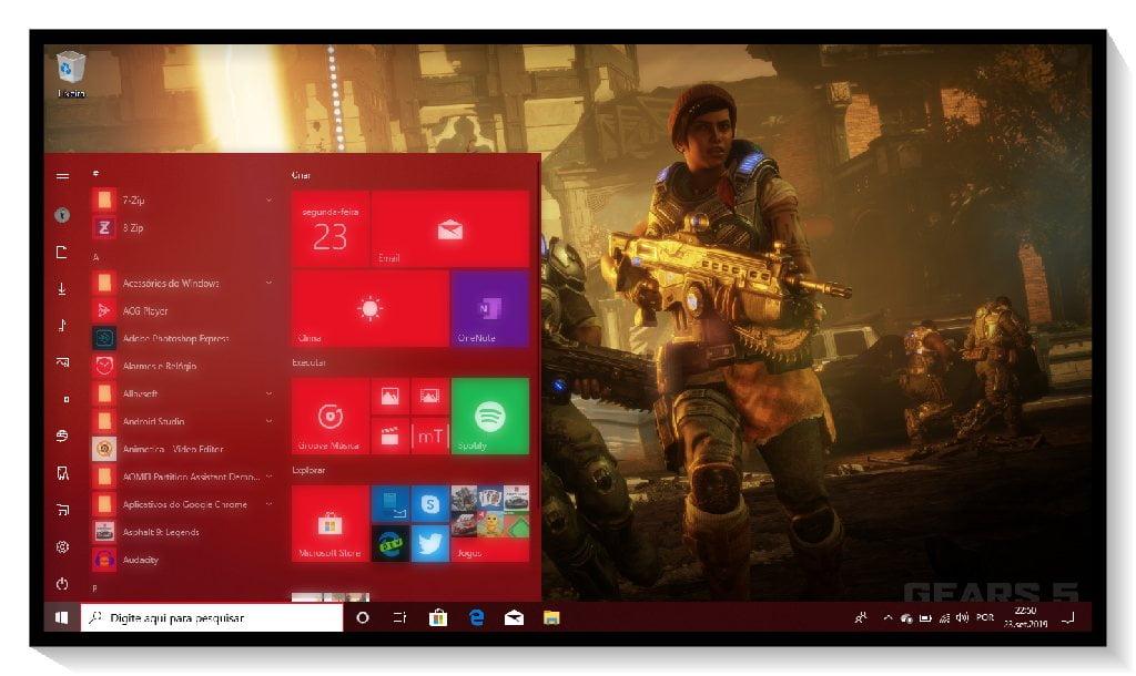 Tema Gears 5 no Windows 10