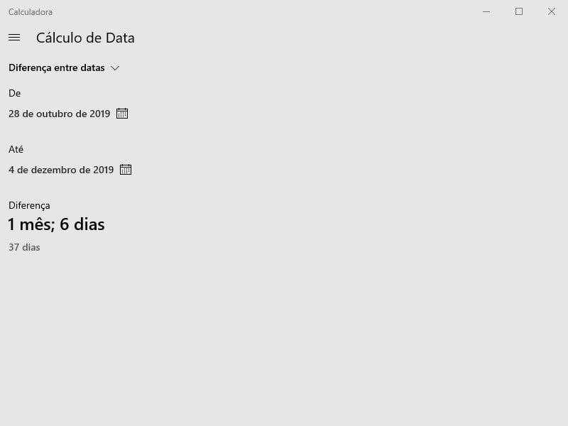 Saber a diferença entre datas usando a Calculadora Windows.