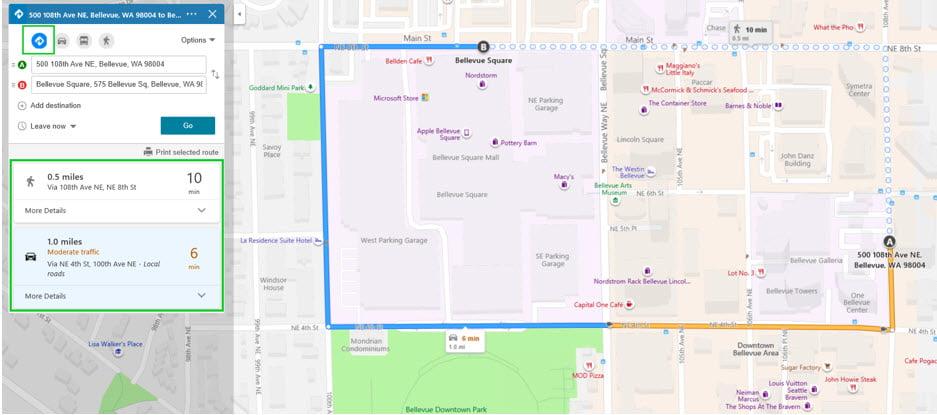 Roteamento do melhor modo no Bing Mapas.