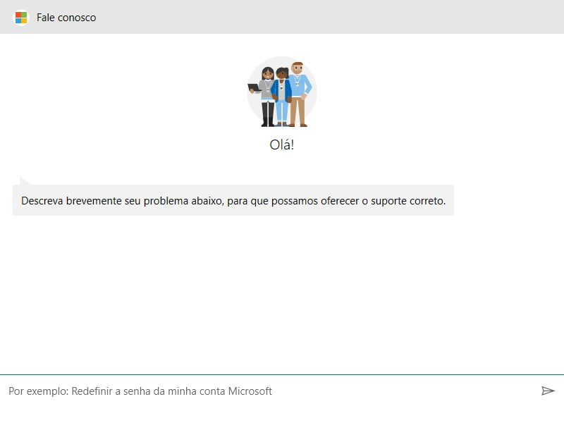 Fale com a Microsoft usando o aplicativo Obter Ajuda.